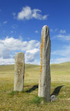 Deer stone of Ukok Plateau Royalty Free Stock Photography