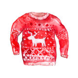 Deer sweater with deer and nordic pattern. Red and Royalty Free Stock Photography