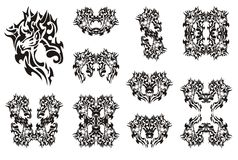 Deer symbols in tribal style. Black on the white Royalty Free Stock Photo