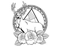 Deer tattoo sketch with roses and leafes vintage neo traditional tattoo sketch. Hand drawn retro animal tattoo sketch with roses in vintage style. ornate vector illustration