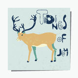Deer. Template with deer. Textured  pattern for placards, brochures, posters, greeting cards, flyers. Winter greetings. Tidings of Joy Stock Photography