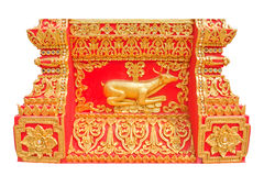 Deer thai style art molding at the wall of Thai temple.Wat Dench Stock Photos