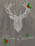 Deer thread christmas. Merry Christmas. Reindeer thread. Christmas branch. Card banner congratulations Stock Images