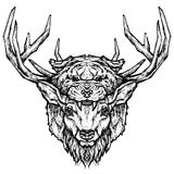 Deer and tiger head tattoo. Psychedelic hand-drawn style illustration Stock Images