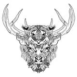 Deer and tiger head tattoo. psychedelic, zentangle style Royalty Free Stock Images