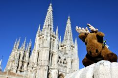 Deer Toy with the Cathedral of Burgos Royalty Free Stock Images