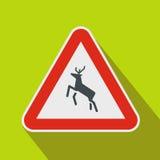 Deer traffic warning sign icon, flat style Stock Photos