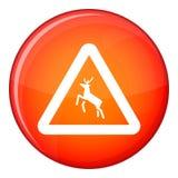 Deer traffic warning sign icon, flat style Stock Image