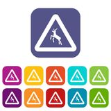 Deer traffic warning sign icons set Royalty Free Stock Photo
