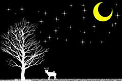 Deer and tree in the dark and white scene with black stars and m stock illustration