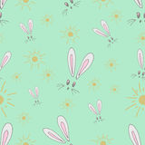 Seamless pattern of the hare and the sun. Fabric made of childrens drawings Royalty Free Stock Images