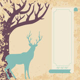 Deer and tree invitation card Stock Photo