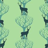 Deer and tree pattern Stock Photo