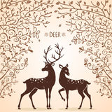 Deer trees. Illustration silhouettes of two beautiful deer Stock Images