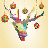 Deer trendy hipster style with christmas balls Stock Image