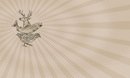 Deer Trout Quail Farm Business card. Business card showing Drawing sketch style illustration of a deer, trout and quail viewed from the side Stock Photography