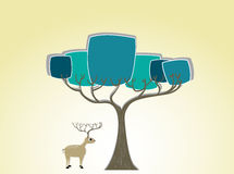 Deer under the tree silhouette. For your design and background Vector Illustration
