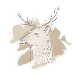 Deer vector illustration. Brown illustration with deer and stripes on a background in warm tones Stock Photography