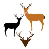Deer vector illustration style Flat black silhouette Stock Photography