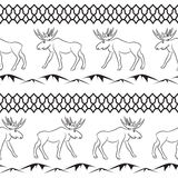 Deer vector seamless pattern. Ethnic animal theme Stock Photography