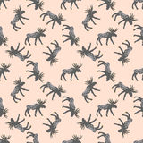 Deer vector seamless pattern with retro dots Stock Image