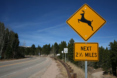 Deer warning sign Royalty Free Stock Photography