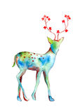 Deer watercolor painting abstract with flower at horn; isolated drawing on white background Royalty Free Stock Photography