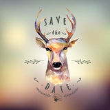 Deer watercolor. Save the date Stock Photography