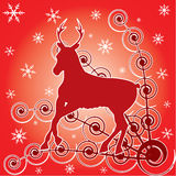 Deer and winter background. Stock Images