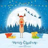 Deer on Winter Background with Gifts and Christmas Lights. Happy reindeer with colorful Christmas lights and gifts. Text Merry Christmas and Happy New Year on stock illustration
