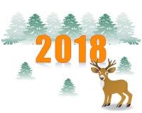 2018. Deer in the winter forest. Winter landscape stock illustration