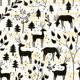 Deer in winter forest. Seamless pattern. Hand drawn design for Christmas and New Year greeting cards, fabric, wrapping paper, invitation, stationery. Grunge Royalty Free Stock Images