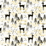 Deer in winter pine forest. Seamless pattern. Hand drawn design for Christmas and New Year greeting cards, fabric, wrapping paper, invitation, stationery Stock Images