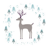Deer in winter pine forest  on white. Royalty Free Stock Images