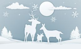Free Deer Winter Scene Paper Art Royalty Free Stock Image - 106267286