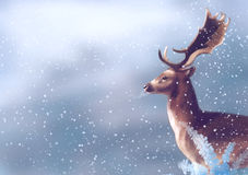 Deer in winter. Snow fall, illustration painting Stock Image