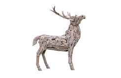 Deer wood craft  isolated on white Royalty Free Stock Image