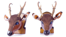 Deer wood vintage object on white background Stock Image