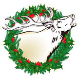 Deer in the wreath Stock Photography