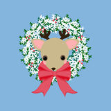 Deer on the wreath. On the blue background. Vector illustration Stock Image