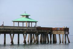 Deerfield Beach Pier with Rain Clearing Royalty Free Stock Photo