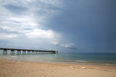 Deerfield Beach Pier with Rain Clearing Royalty Free Stock Images