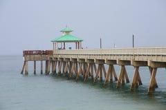 Deerfield Beach Pier in Rain Stock Photography