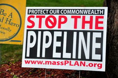 Deerfield, Massachusetts:  Stop the Pipeline Protest Sign Stock Photos