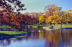 Deering Oaks Park, Portland, Maine. A timeless view of Deering Oaks Park in Portland, Maine. The park was designed by the architectural firm run by the famous Stock Images