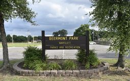 Deermont Park, Bartlett, TN. Welcome to Deermont Park in Bartlett, Tennessee. This is an active community athletic park and the 4 youth baseball fields at stock image