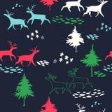 Deers διανυσματικό άνευ ραφής σχέδιο χειμερινού στο δασικό νέο έτους με τα δέντρα και τα ζώα Στοκ Φωτογραφία