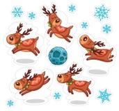 Deers κινούμενων σχεδίων, αυτοκόλλητες ετικέττες Χριστουγέννων απεικόνιση αποθεμάτων