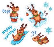 Deers κινούμενων σχεδίων, αυτοκόλλητες ετικέττες Χριστουγέννων ελεύθερη απεικόνιση δικαιώματος