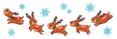 Deers κινούμενων σχεδίων, αυτοκόλλητες ετικέττες Χριστουγέννων διανυσματική απεικόνιση